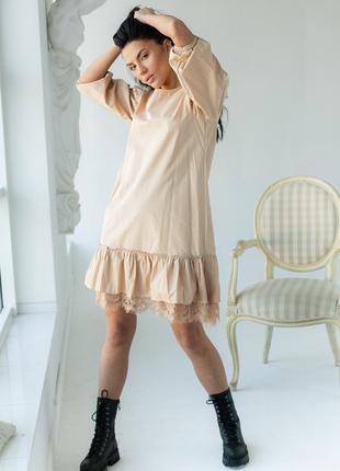 Ефектне красиве коротке плаття, сукня з ажурною рюшею оверсайз турция