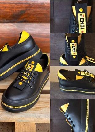 . спортивные туфли из натуральной кожи на платформе
