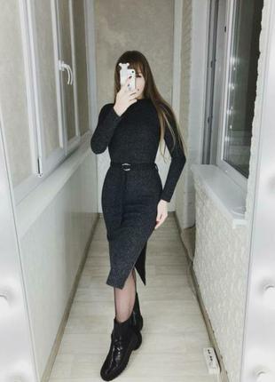 Платье рубчик под пояс с разрезами