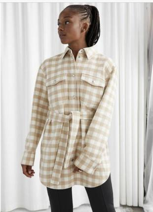 Пиджак-рубашка оверсайз с поясом