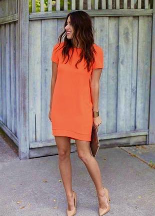 Яркое оранжевое платье из креп шифона top shop