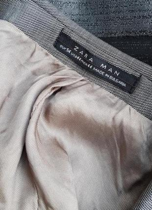 Брендовый топовый однобортный базовый серый шерстяной пиджак жакет блейзер zara man xxl