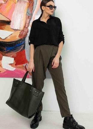 Женский деловой костюм с блузкой и брюками в полоску (ко 0321 rmmr)