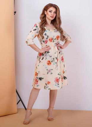 Миди платье с цветочным принтом. есть большие размеры