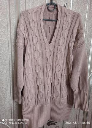 Туника свитер пудрового цвета