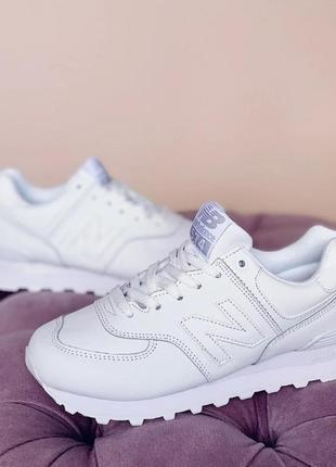 Женские кроссовки new balance 574 белого цвета , кожа