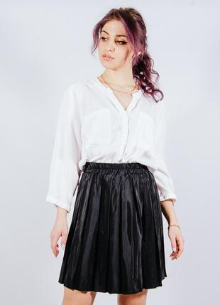 Черная короткая юбка-плиссе, чорна коротка спідниця-плісе