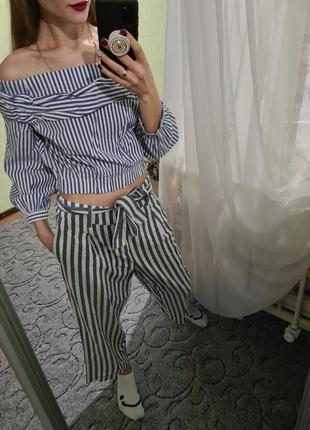 Шикарный хлопковый топ, рубашка с пышными рукавчиками от zara