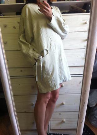 Стильное бежевое оверсайз платье туника хлопок италия m-l-xl