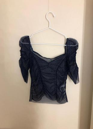 Топ с квадратным вырезом zara блуза сеточка полупрозрачный полупрозрачная