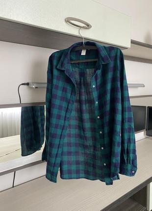 Рубашка удлиненная в клетку темно-зелёный темно-синий цвет
