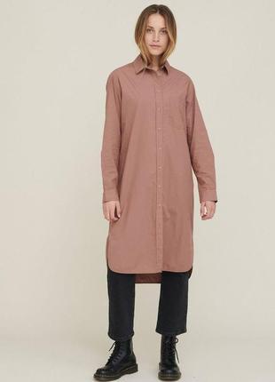 Рубашка био коттон платье удлиненная длинная сорочка сукня довга naturaline bio&fair эко
