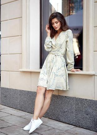 Женское романтичное оливковое платье с поясом 11272.1