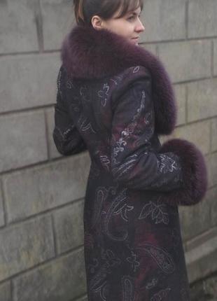 Пальто с мехом, песец, демисезон.