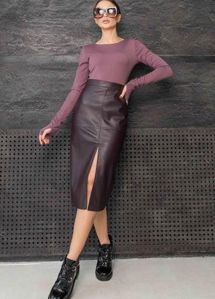 Женский костюм с кожаной юбкой и лонгсливом (ко 1121 rmmr)