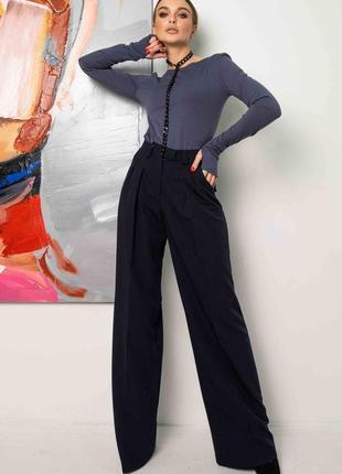 Женский деловой костюм с широкими брюками и лонгсливом (ко 1221 rmmr)