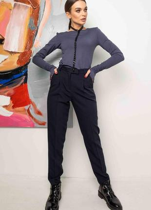 Женский деловой синий костюм с брюками и лонгсливом (ко 1321 rmmr)