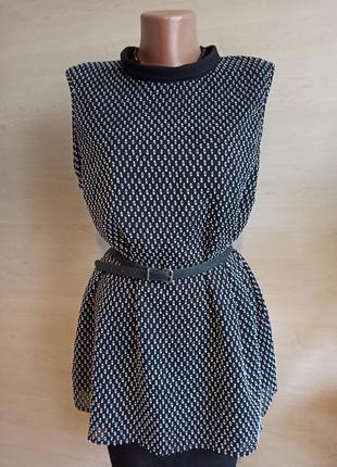 Шифоновая блуза безрукавка принт большой размер  tu