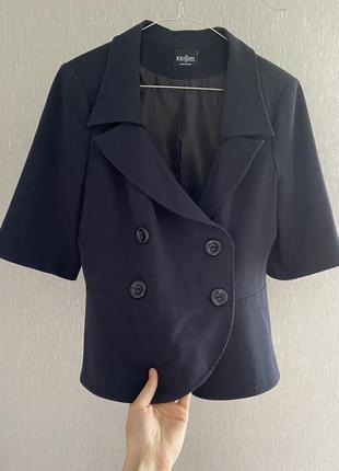 Классический пиджак жакет темно-синий с подкладкой