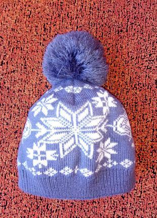 Модная детская шапка, нежно голубого цвета