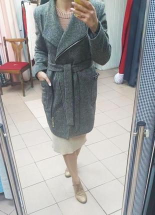 Пальто кашемир на запах с поясом серое демисезонн