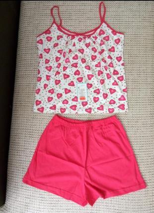 Комплект для дома пижама с шортами женская трикотажная  хлооковая