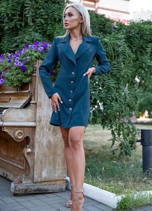 Акция!!стильное платье-жакет темно-зеленого цвета