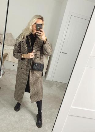 Пальто тёплое oversize zara коричневое s m гусиная лапка