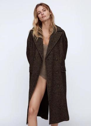 Пальто тёплое oversize zara коричневое m l гусиная лапка