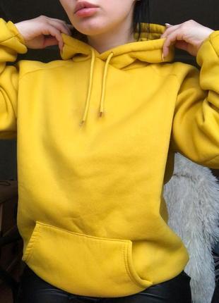Толстовка худи с капюшоном жёлтая