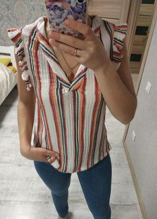 Воздушная легкая хлопковая блуза с рюшами воланами
