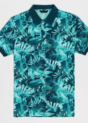 Мужское поло синее lc waikiki  лс вайкики с бирюзовым лиственным принтом