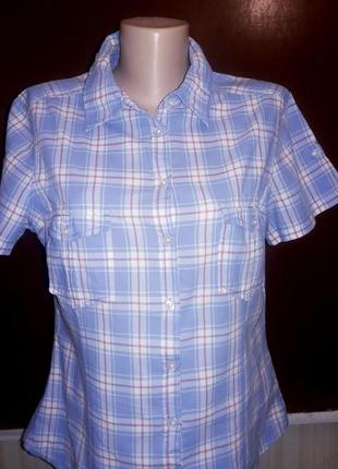 Рубашечка клетка короткий рукав %хлопок от h&m