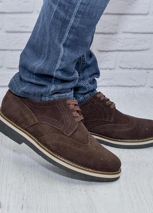 Туфли, броги из натурального замша от производителя flamanti, замшеві туфлі від виробника