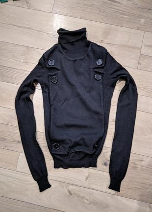 Balenciaga свитер женский черный под горло / гольф нарядный