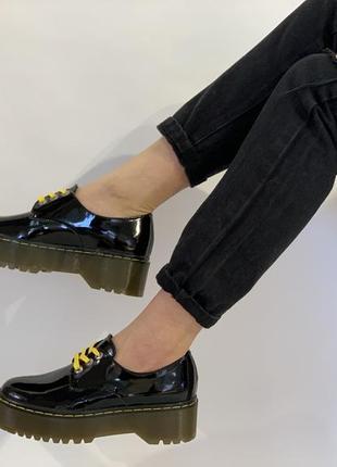 Туфли броги женские лаковая кожа