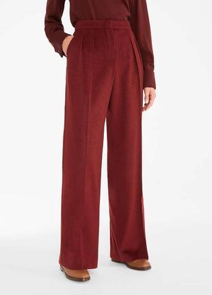 Брюки штаны классические с защипами широкие палаццо бордовые класичні широкі бордові