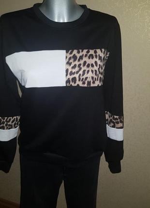 Свитшот колор блок леопард2 фото