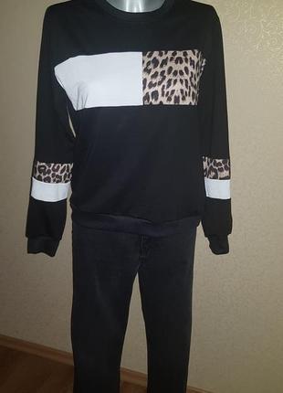 Свитшот колор блок леопард4 фото