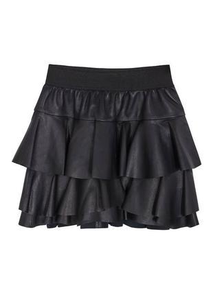 100% кожаная короткая юбка с воланами оборками designer remix charlotte eskildsen