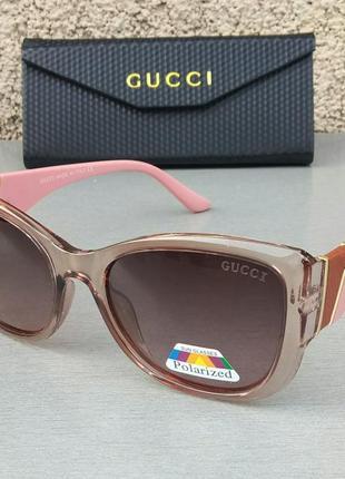 Gucci очки женские солнцезащитные бежевые с пудровым поляризированые с градиентом