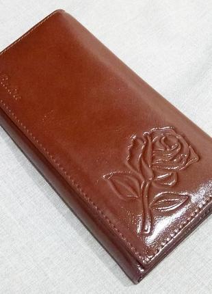Большой кожаный кошелек шоколадная роза, 100% натуральная кожа, есть доставка бесплатно