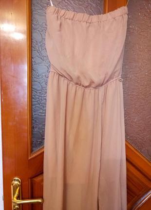 Бежевое платье шифон длинное макси в пол