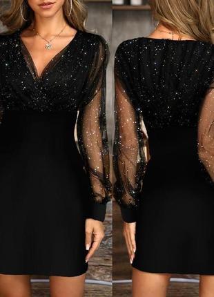 Платье женское нарядное с евросеткой бризг