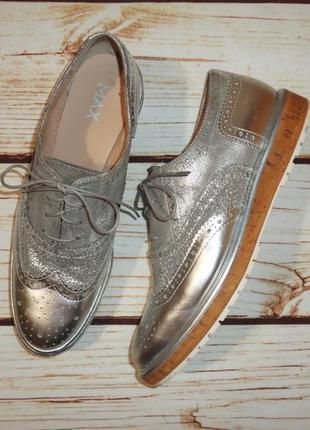Туфли оксфорды max натуральная кожа р. 40 ст. 26,5 см серебристые платформа