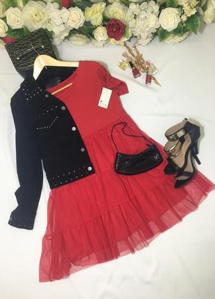 Червона сукня з фатіном / красное платье с фатином