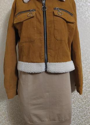 Вельветовая шерпа куртка ruby горчичного цвета