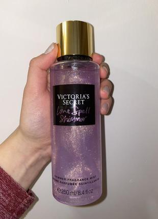 Парфюмированная вода спрей духи мист victoria's secret love spell shimmer