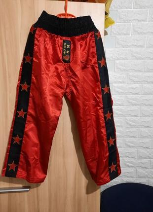Штаны для теквандо красные, кигбоксинга