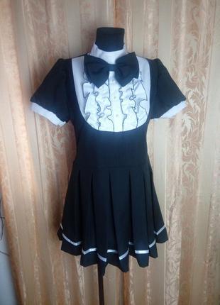 Черно белое платье ручная работа. платье горничной.